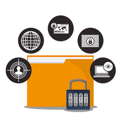 Cyber secuirty folder file padlock data vector