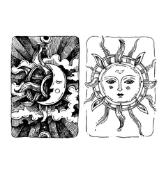 Decorative sun and moon vector image