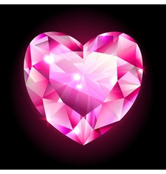 Design element red heart shaped diamond vector