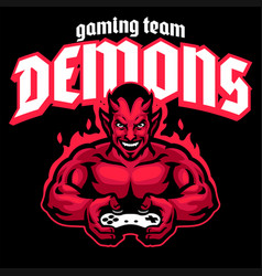 devil mascot logo gaming vector image