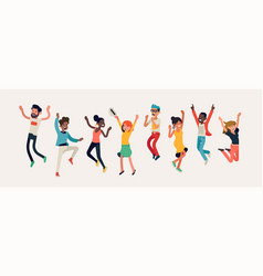 diverse group happy people jumping cheerful vector image