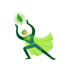 Eco superhero applies his supernatural power vector