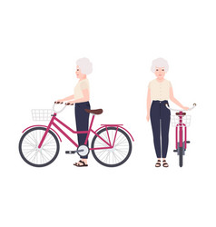 elderly woman or granny standing beside bike with vector image