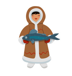Eskimo girl with fish graphics isolated on white vector