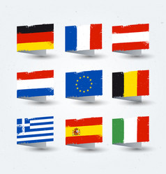 european countries flags texture icons set vector image