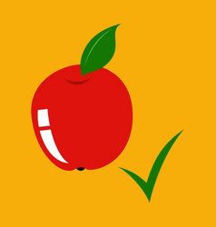 Flat apple with leaf realistic fresh isolated vector
