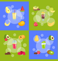 flat smoothie elements infographic concept vector image