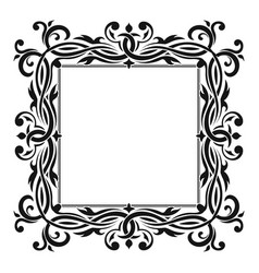 Floral decorative square frame black ornament vector