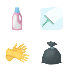 Gel for washing in a pink bottle yellow gloves vector