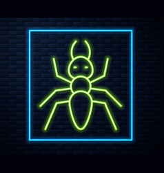 Glowing neon line ant icon isolated on brick wall vector