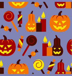 halloween seamless pattern treat or trick party vector image