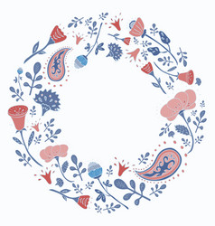 hand drawn round frame with cute flowers vector image