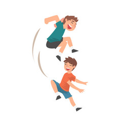 happy boys playing together naughty kids bad vector image