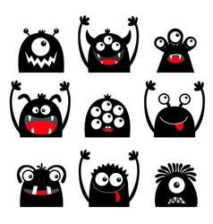 happy halloween monster icon set black silhouette vector image