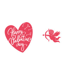 happy valentines day greeting card with white vector image