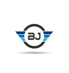 Initial letter bj logo template design vector
