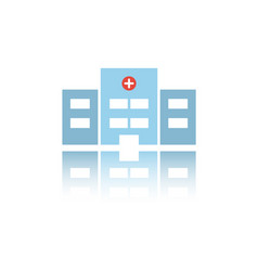 Isolated hospital color icon with reflection vector