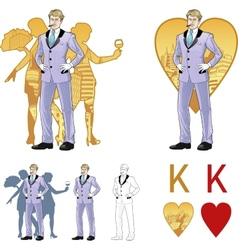 King of hearts attractive caucasian man with corps vector