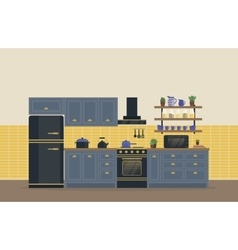 Kitchen room for food cooking interior with stove vector image