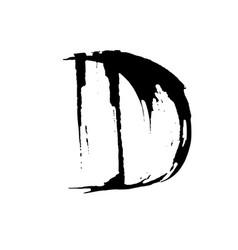 Letter d handwritten by dry brush rough strokes vector