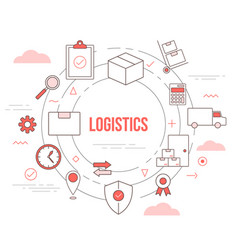 Logistics delivery concept with icon set template vector