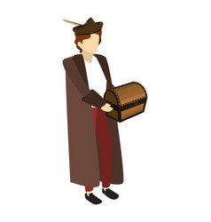 Man christopher columbus with wooden chest vector