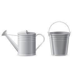 metal bucket and watering can vector image