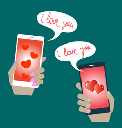 mobile phones in hands with love confessions vector image