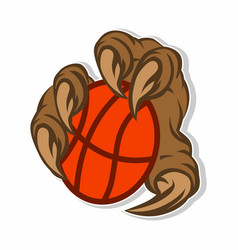 monsters playing basketball sticker concept vector image