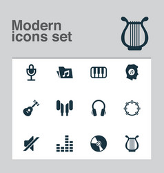 music icons set with vinyl mixer guitar and vector image