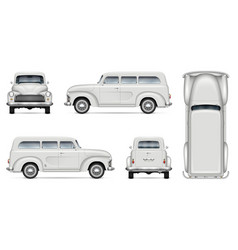 old white van realistic mock-up vector image