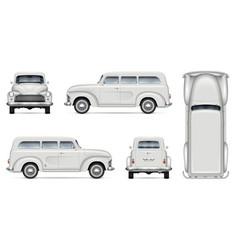 Old white van realistic mock-up vector
