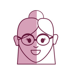 old woman face with glasses and hairstyle vector image