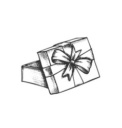 opened gift box and decorated ribbon retro vector image