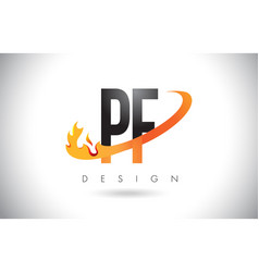 pf p f letter logo with fire flames design and vector image