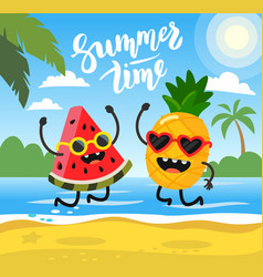 pineapple and watermelon lie on beach vector image