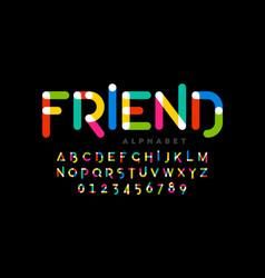 playful children style colorful font design vector image