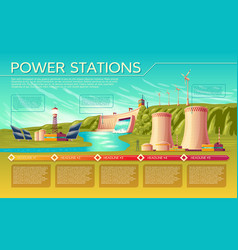 Power stations infographics template vector