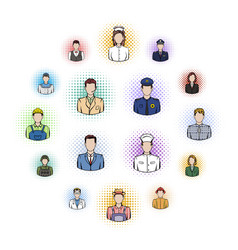 profession comics icons set vector image