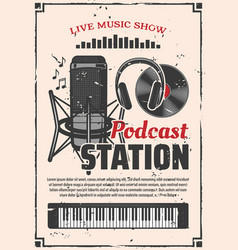 Radio music show podcast station retro vector