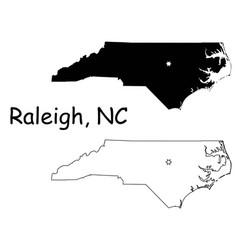 raleigh north carolina nc state border usa map vector image
