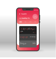 Red and black health ui ux gui screen for mobile vector