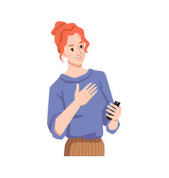 Redhead girl empathize reading smartphone message vector