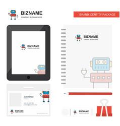 Robotics business logo tab app diary pvc employee vector