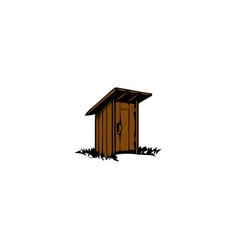 Rustic wooden toilet old traditional wc vector