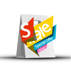 sale symbol on paper shopping bag vector image