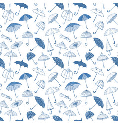 seamless background with blue umbrellas can vector image