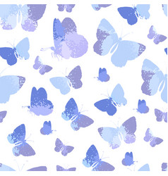 seamless pattern with blue silhouettes watercolor vector image
