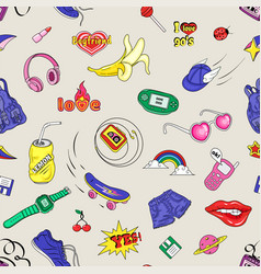 Seamless pattern with fashion badges retro style vector