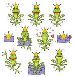 set emotional expression frog vector image